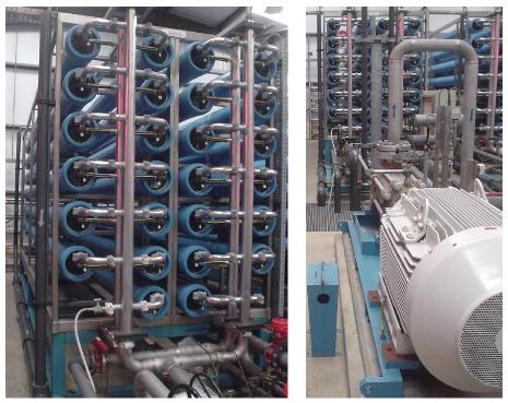 a bank of reverse-osmosis membranes - photo by David MacKay